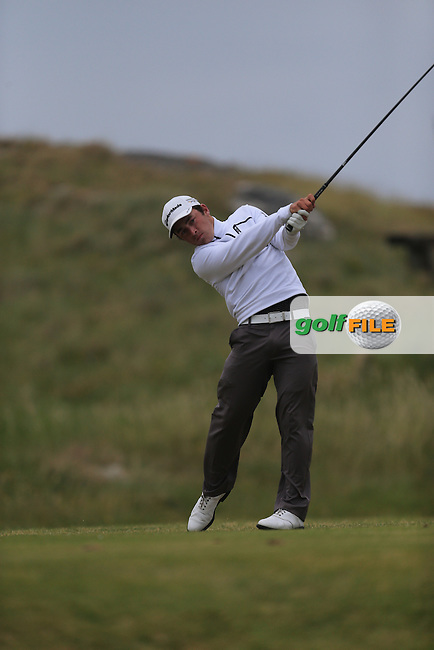 Daniel Holland (The Island) on the 1st tee during the 3rd round of the Irish Amateur Close Championship 2013 at the Connemara Golf Club 10/6/13<br /> Picture:  Thos Caffrey / www.golffile.ie