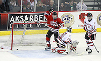 St. Cloud State's Joey Holka (17) celebrates Ben Hanowski's goal during the second period. St. Cloud State and Nebraska-Omaha skated to a 2-2 tie on Nov. 27, 2011. (Photo by Michelle Bishop)..