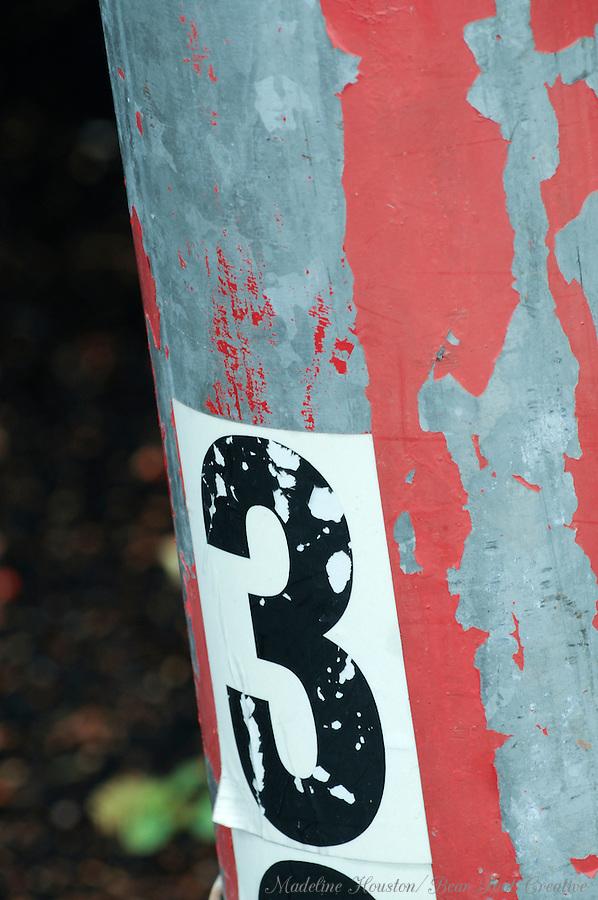Metal post in Puyallup, Washington, USA.
