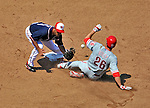 30 May 2011: Philadelphia Phillies second baseman Chase Utley steals second base in the 5th inning as Alex Cora is unable to hold onto the throw during game action against the Washington Nationals at Nationals Park in Washington, District of Columbia. The Phillies defeated the Nationals 5-4 to take the first game of their 3-game series. Mandatory Credit: Ed Wolfstein Photo
