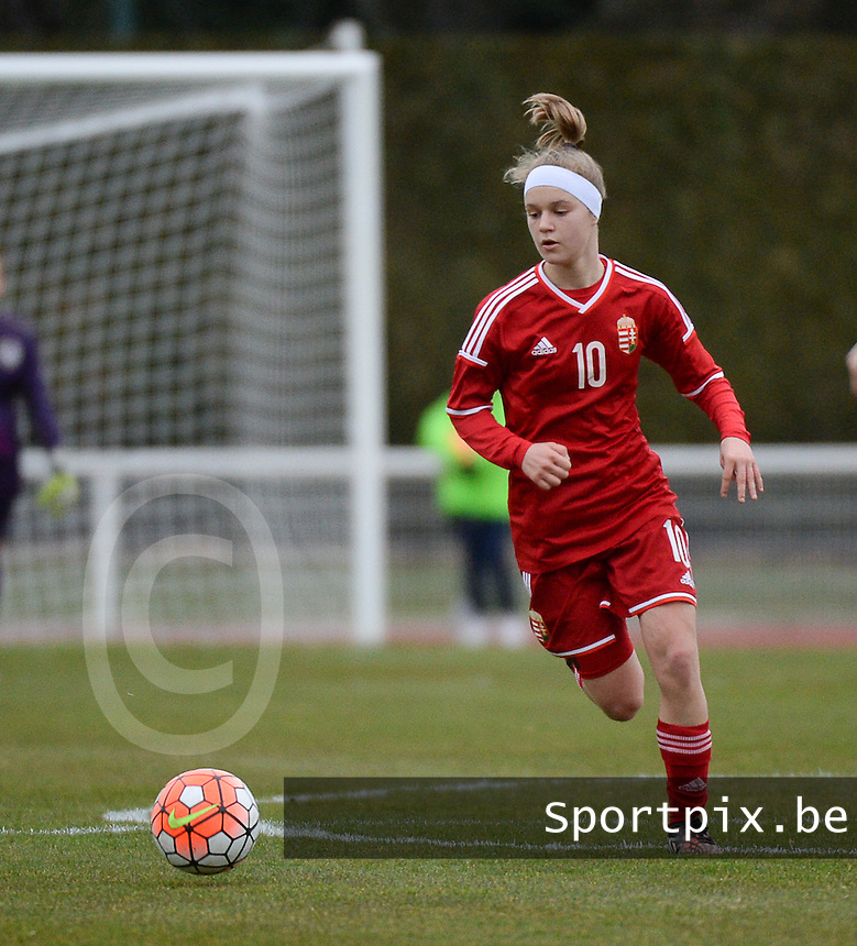 20160319 - BAYEUX , FRANCE : Hungarian Fanni Vachter pictured during the soccer match between the women under 17 teams of The Republic of Ireland and Hungary , on the first matchday in group 3 of the UEFA Women Under17 Elite rounds at Stade Henry Jeanne in Bayeux , France . Saturday 19th March 2016 . PHOTO DIRK VUYLSTEKE