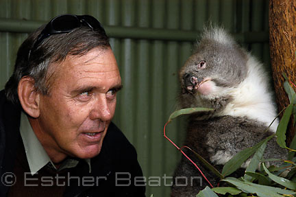 Alex Wotzko, with koala burned in bushfire, Tidbinbilla Nature Reserve, Australian Capital Territory