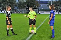 Aalst's defender Chloe Van Mingeroet (17) , referee Van Meirvenne Imgard and Gent's defender Silke Vanwynsberghe (21) pictured during a female soccer game between  AA Gent Ladies and Eendracht Aalst on the second matchday of the 2020 - 2021 season of Belgian Scooore Womens SuperLeague , friday 4 th of september 2020  in Oostakker , Belgium . PHOTO SPORTPIX.BE | SPP | STIJN AUDOOREN