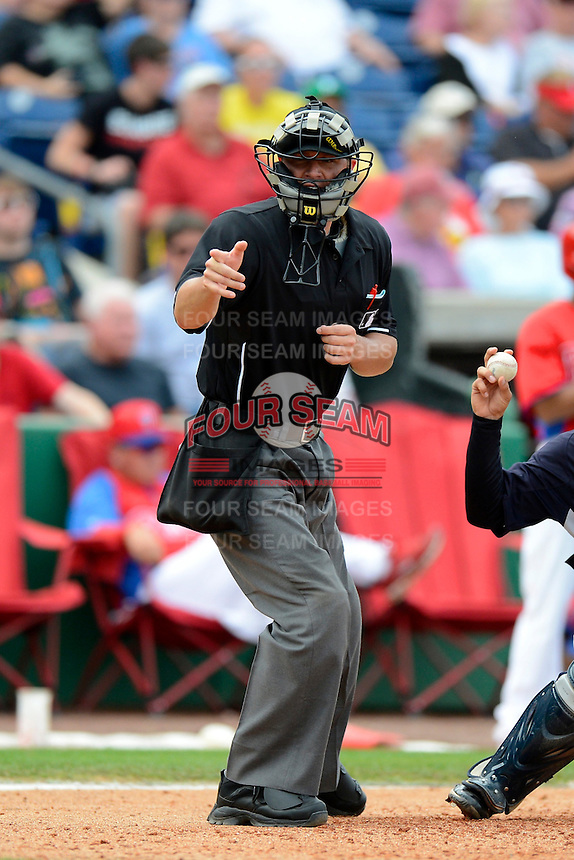 Home plate umpire David Soucy during a spring training game between the New York Yankees and Philadelphia Phillies at Bright House Field on February 26, 2013 in Clearwater, Florida.  (Mike Janes/Four Seam Images)