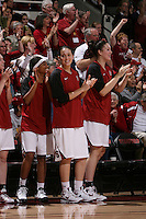 STANFORD, CA - FEBRUARY 1:  Melanie Murphy, Michelle Harrison and Sarah Boothe of the Stanford Cardinal during Stanford's 68-51 win over the UCLA Bruins on February 1, 2009 at Maples Pavilion in Stanford, California.
