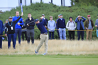John Augenstein (USA) on the 1st during the Foursomes at the Walker Cup, Royal Liverpool Golf CLub, Hoylake, Cheshire, England. 07/09/2019.<br /> Picture Thos Caffrey / Golffile.ie<br /> <br /> All photo usage must carry mandatory copyright credit (© Golffile | Thos Caffrey)