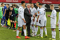 Pictured: Ben Cabango of Swansea introduces FAW representative to his team mates. Tuesday 01 May 2018<br /> Re: Swansea U19 v Cardiff U19 FAW Youth Cup Final at the Liberty Stadium, Swansea, Wales, UK