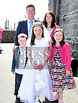 Síofra NíUallacháin who received first holy communion in the Church of the Assumption in Tullyallen pictured with her family. Photo:Colin Bell/pressphotos.ie
