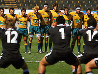 Australia faces the haka during the International rugby match between New Zealand Secondary Schools and Suncorp Australia Secondary Schools at Yarrows Stadium, New Plymouth, New Zealand on Friday, 10 October 2008. Photo: Dave Lintott / lintottphoto.co.nz