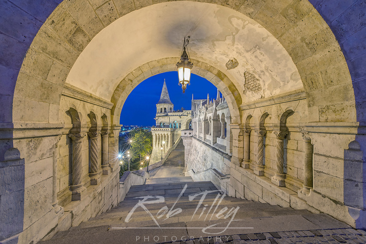 Europe, Hungary, Budapest, Fisherman's Bastion at Twilight