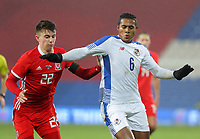 (L-R) Ben Woodburn of Wales and Manuel Vargas of Panama during the international friendly soccer match between Wales and Panama at Cardiff City Stadium, Cardiff, Wales, UK. Tuesday 14 November 2017.