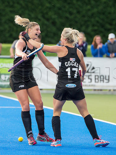 07.04.2016. Unison Hockey Turf, Hastings, New Zealand. Festival of Hockey New Zealand versus Korea. New Zealand's Olivia Merry and Sophie Cocks celebrate a goal.