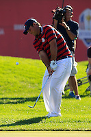 Patrick Reed (Team USA) on the 9th during Saturday afternoon Fourball at the Ryder Cup, Hazeltine National Golf Club, Chaska, Minnesota, USA.  01/10/2016<br /> Picture: Golffile | Fran Caffrey<br /> <br /> <br /> All photo usage must carry mandatory copyright credit (&copy; Golffile | Fran Caffrey)