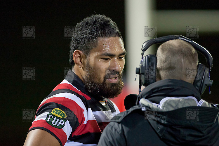 Fritz Lee is interviewed by Sky Sport during the halftime break. ITM Cup Championship Division Round 2 rugby game between Counties Manukau Steelers and Manawatu, played at Bayer Growers Stadium Pukekohe, on Wednesday July 20th 2011. Counties Manukau won the game 32 - 25 after leading 19 - 18 at halftime.