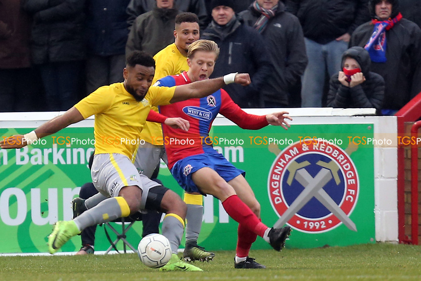 Adi Yussuf of Solihull Moors scores the opening goal  during Dagenham & Redbridge vs Solihull Moors, Vanarama National League Football at the Chigwell Construction Stadium on 27th January 2018