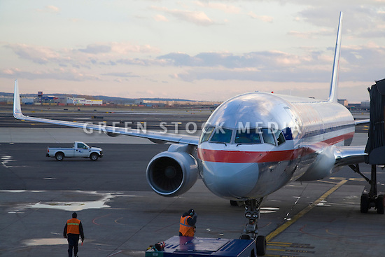 American Airlines Commercial Airplane At Airport Green
