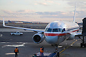 A front view of an American Airlines Commercial Airplane at Newark Airport. Newark, New Jersey, USA
