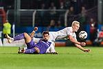 12.10.2018, Stadion an der Bremen Bruecke, Osnabrueck, GER, FSP, 1.FBL, VfL Osnabrueck vs Werder Bremen<br /> <br /> DFL REGULATIONS PROHIBIT ANY USE OF PHOTOGRAPHS AS IMAGE SEQUENCES AND/OR QUASI-VIDEO.<br /> <br /> im Bild / picture shows<br /> Marcos Alvarez (VfL Osnabrueck #9) im Duell / im Zweikampf mit Julian Rieckmann (Werder Bremen #21), <br /> <br /> Foto © nordphoto / Ewert