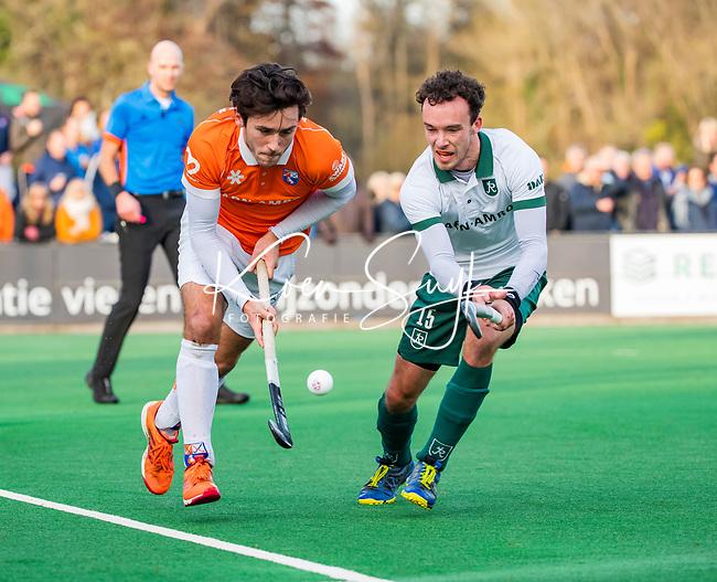 BLOEMENDAAL - Arthur van Doren (Bldaal) met Diede van Puffelen (Rdam) tijdens  hoofdklasse competitiewedstrijd  heren , Bloemendaal-Rotterdam (1-1) .COPYRIGHT KOEN SUYK