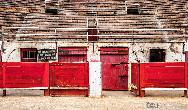 Gates of the bullring at Plaza de Toros in Palma de Mallorca, Balearic Islands, Spain <br /> <br /> WARNING: Image Protected with PIXSY