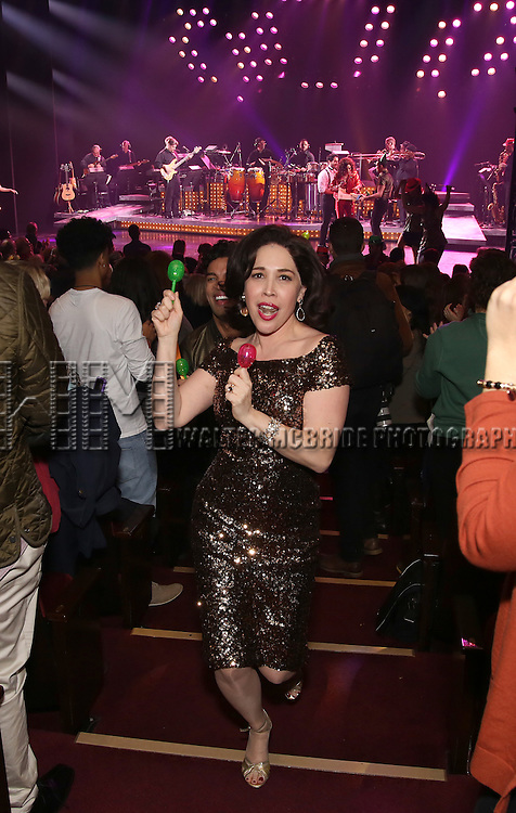 Andréa Burns of the Broadway production of 'On Your Feet!' celebrate their 500th performance at Marquis Hotel  on January 18, 2017 in New York City.