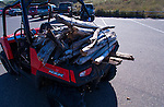 Polaris RZR with firewood at Staging area at the dunes