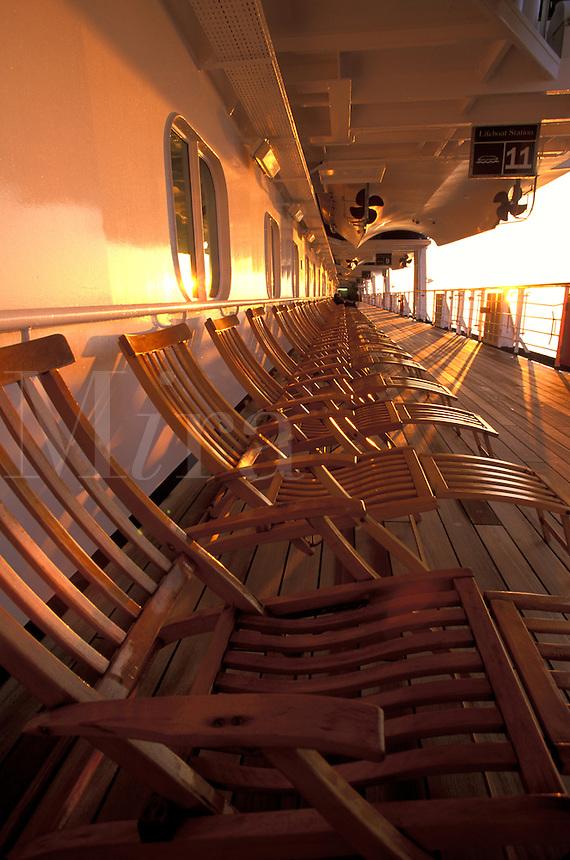Holland-America Cruise Lines, Veendam.  Promenade Deck.  Alaska.