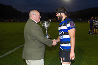 Guy Mercer of Bath United is presented with the trophy after the match. Remembrance Rugby match, between Bath United and the UK Armed Forces on May 10, 2017 at the Recreation Ground in Bath, England. Photo by: Patrick Khachfe / Onside Images