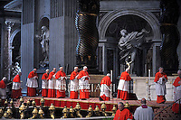 Pope Francis the ceremony of the Good Friday Passion of the Lord Mass in Saint Peter's Basilica at the Vatican.April 18,2014