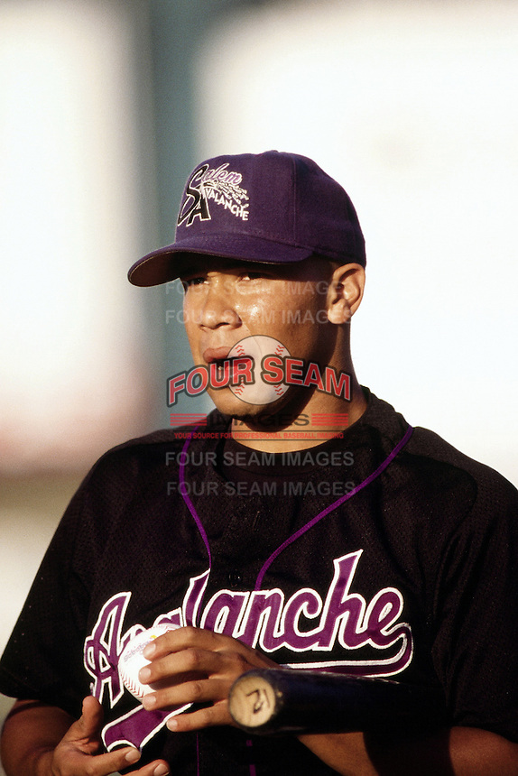 Jody Gerut of the Salem Avalanche during the California League / Carolina League All Star Game at The Diamond circa 1999 in Lake Elsinore, California. (Larry Goren/Four Seam Images)