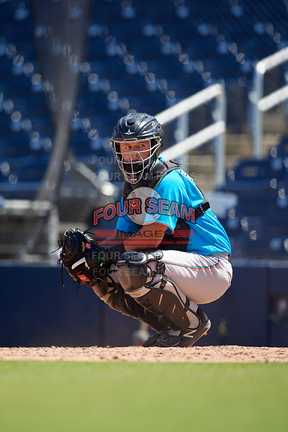Miami Marlins catcher Dustin Skelton (20) during an Instructional League game against the Washington Nationals on September 26, 2019 at FITTEAM Ballpark of The Palm Beaches in Palm Beach, Florida.  (Mike Janes/Four Seam Images)