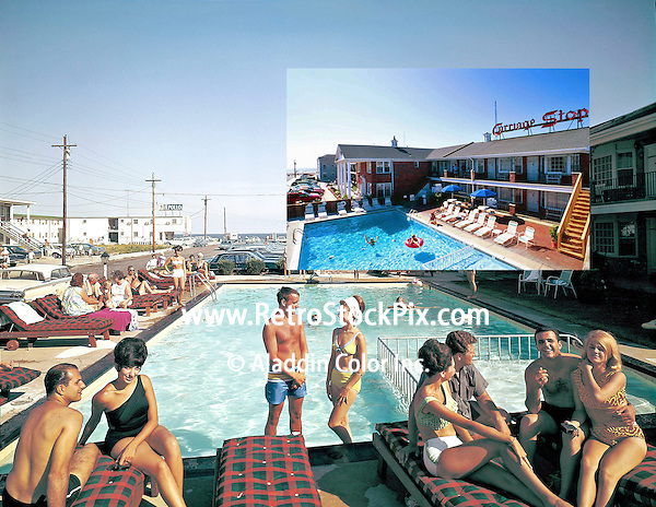 Carriage Stop Motel Pool as seen in 1963 & 2005.
