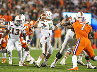 Charlotte, NC - December 2, 2017: Miami Hurricanes quarterback Malik Rosier (12) attempts a pass during the ACC championship game between Miami and Clemson at Bank of America Stadium in Charlotte, NC.  (Photo by Elliott Brown/Media Images International) Clemson defeated Miami 38-3 for their third consecutive championship title.