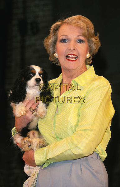 "PENELOPE KEITH.Ref:11166.costume, ""star quality"", dog, theatre, stage, half length, half-length.*RAW SCAN - photo will be adjusted for publication*.www.capitalpictures.com.sales@capitalpictures.com.© Capital Pictures"