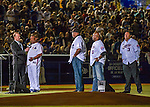 1 April 2016: Former Montreal Expo left fielder Tim Raines addresses the crowd during pre-game ceremonies prior to an exhibition game between the Boston Red Sox and the Toronto Blue Jays at Olympic Stadium in Montreal, Quebec, Canada. The Red Sox defeated the Blue Jays 4-2 in the first of two MLB weekend exhibition games, which saw an attendance of 52,682 at the former home on the Montreal Expos. Mandatory Credit: Ed Wolfstein Photo *** RAW (NEF) Image File Available ***