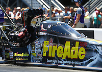 Jun 18, 2016; Bristol, TN, USA; NHRA top fuel driver Leah Pritchett during qualifying for the Thunder Valley Nationals at Bristol Dragway. Mandatory Credit: Mark J. Rebilas-USA TODAY Sports