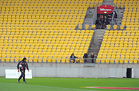 Counties coach Tana Umaga walks the pitch before the ITM Cup semifinal rugby union match between Wellington Lions and Counties Manukau Steelers at Westpac Stadium, Wellington, New Zealand on Friday, 18 October 2013. Photo: Dave Lintott / lintottphoto.co.nz