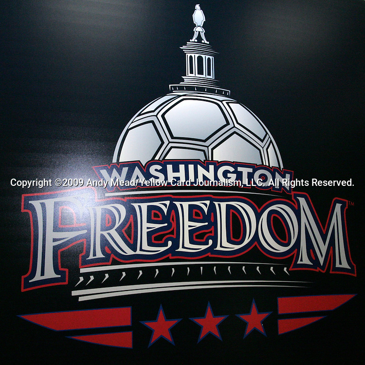 16 January 2009: Washington Freedom logo. The 2009 inaugural Womens Pro Soccer (WPS) Draft was held at the Convention Center in St. Louis, Missouri in conjuction with the National Soccer Coaches Association of America's annual convention.