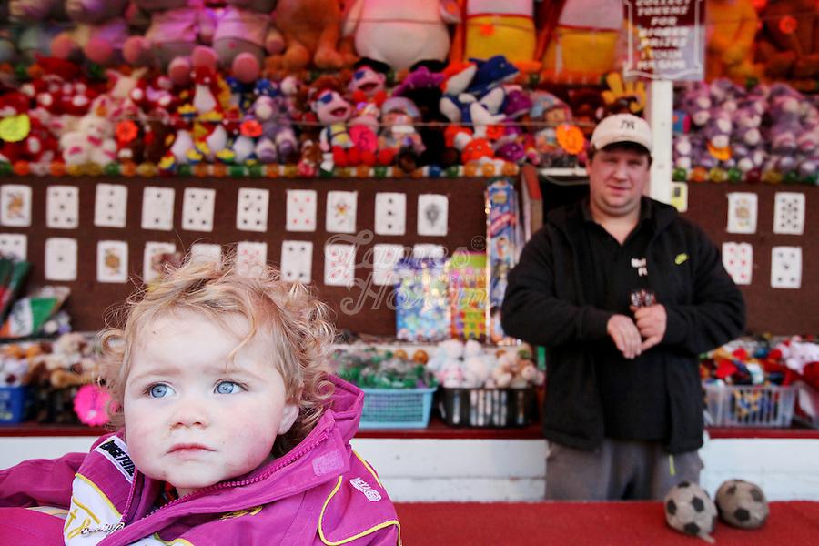 4/10/2010.  A taveler girl at the fun fair during the Ballinasloe Horse Fair, Ballinasloe, Ireland. Picture James Horan