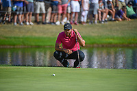 Jason Day (AUS) lines up his putt on 16 during 3rd round of the World Golf Championships - Bridgestone Invitational, at the Firestone Country Club, Akron, Ohio. 8/4/2018.<br /> Picture: Golffile | Ken Murray<br /> <br /> <br /> All photo usage must carry mandatory copyright credit (© Golffile | Ken Murray)