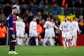 2nd February 2019, Camp Nou, Barcelona, Spain; La Liga football, Barcelona versus Valencia; Lionel Messi of FC Barcelona frustrated after the 0-2 goal scored by Parejo of Valencia CF