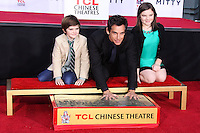 HOLLYWOOD, CA - DECEMBER 03: Quinlin Stiller, Ben Stiller, Ella Stiller attending the Ben Stiller Hand/Footprint Ceremony held at TCL Chinese Theatre on December 3, 2013 in Hollywood, California. (Photo by Xavier Collin/Celebrity Monitor)