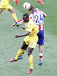 Atletico de Madrid's Jose Maria Gimenez (r) and Getafe's Baba Diawara during La Liga match.March 21,2015. (ALTERPHOTOS/Acero)