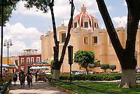 The Zocalo and Parroquia de San Pedro church in Cholula, Puebla, Mexico. Cholula is a UNESCO World Heritage Site.