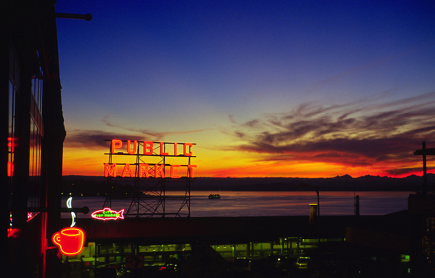 Sunset on Pike Place Market in Seattle, Wash.