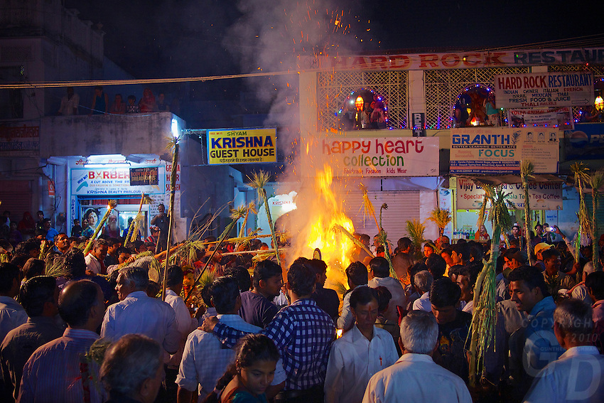Huge fires are lit in the streets to celebrate the coming of the Holi the Festival of color which starts the following day, Pushkar, one of India's most holiest cities, Rajasthan, India.