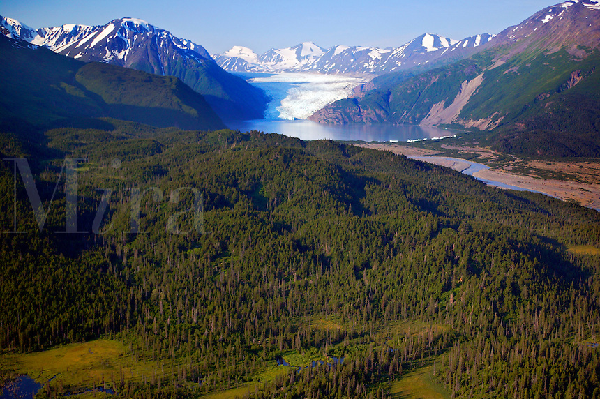 Skilak Glacier, Kenai National Wildlife Refuge, aerial photo of the Kenai Peninsula, Alaska