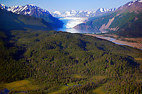 Skilak Glacier, Kenai National Wildlife Refuge, aerial photo of the Kenai Peninsula, Alaska
