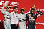 Podium - Nico Rosberg (GER), Mercedes GP - Lewis Hamilton (GBR), Mercedes GP - Daniel Ricciardo (AUS)  Red Bull Racing<br />  Foto &copy; nph / Mathis
