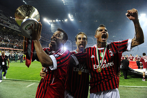14 05 2011 Milan, Italy.  Series A Milan Cagliari  Photo Robinho Mathiew Flamini Kevin Prince Boateng  . AC Milan drew 0-0 with Cagliari but won the Serie A tile for the 18th time.